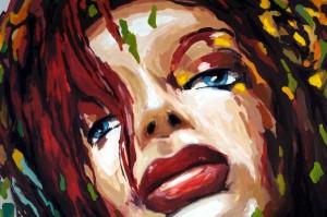 """Ein abstraktes Frauengesicht in den Maßen 160 cm auf 120 cm auf Leinwand. Bekannt ist dieses Gemälde unter dem Namen """"Muswiesen-bollenloch"""", da es während der Muswiese 2013 entstanden ist."""