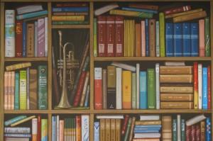 Dieses Bücherregal erschein aus einiger Entfernung, oder bei flüchtigem Betrachten wie echt. Es verleiht dem Raum ein harmonisches Erscheinungsbild. Acrylfarben auf Leinwand, 160 x 120 cm.