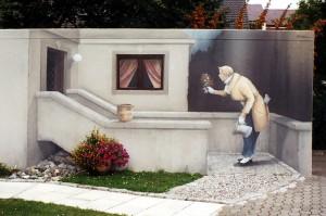 3D-Malerei zur Außengestaltung einer Garage für Privatkunden.