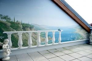 Außenwandmalerei für die Gestaltung einer Terasse.