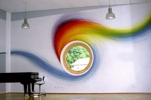 Innenwandmalerei eines Musik-Übungsraumes.